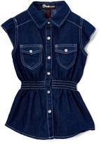 Dollhouse Dark Wash Denim Button-Up Curved-Hem Top - Girls