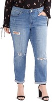 Plus Size Women's Addition Elle Love And Legend Ripped Boyfriend Jeans