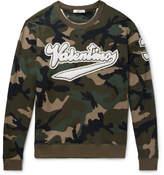 Valentino Appliquéd Camouflage-Print Loopback Cotton-Jersey Sweatshirt