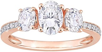 Stella Grace 10k Rose Gold Lab-Created Moissanite 3-Stone Engagement Ring