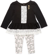 Juicy Couture Black Lace-Trim Tunic & White Logo Leggings - Infant