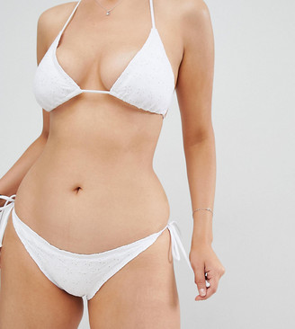 South Beach Broderie Frill Edge Bikini Bottom-White