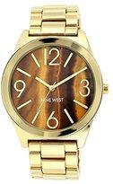 Nine West Women's NW/1584BNGB Brown Tiger Eye Dial Gold-Tone Bracelet Watch