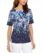 Karen Scott Floral-Print Elbow-Sleeve Top, Created For Macy's