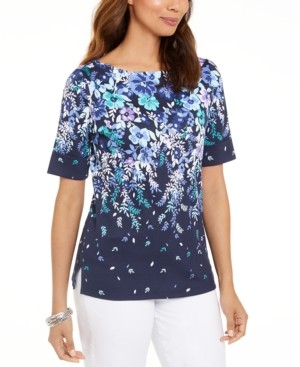 Karen Scott Floral-Print Elbow-Sleeve Top, Created for Macy's