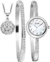 Limit Silver Tone Dial Bracelet, Bangle and Pendant Ladies Gift Set