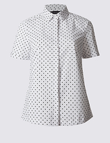 M&S Collection Cotton Rich Spotted Short Sleeve Shirt