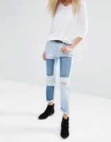 Noisy May Patchwork Destroyed Straight Ankle Grazer Jeans