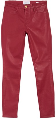 Frame Le High Waisted Coated Skinny Jeans