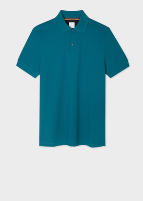 Paul Smith Men's Teal Cotton-Pique Polo Shirt With Charm Buttons