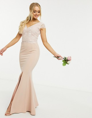 Lipsy Bridesmaids v neck cap sleeve maxi dress with lace detail in light pink