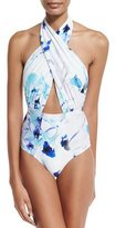 6 Shore Road by Pooja Cabana Cross-Halter One-Piece Swimsuit, White Colombia Floral