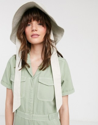 And other stories & organic cotton pocket detail denim boilersuit in pale green