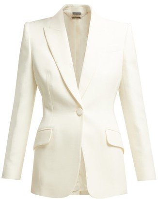 Alexander McQueen Single-breasted Wool-blend Blazer - Womens - Ivory