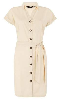Dorothy Perkins Womens Stone Shirt Dress With Linen, Stone