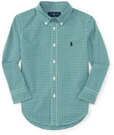 Ralph Lauren Gingham Cotton Poplin Sport Shirt, Green/White, Size 2-7