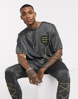 One Above Another oversized t-shirt with pull string in black pinstripe