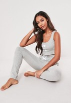 Missguided Lace Up Front Detail Pyjama Set