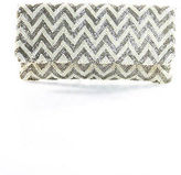 Moyna Ivory Beaded Chevron Evening Clutch Handbag Size Small