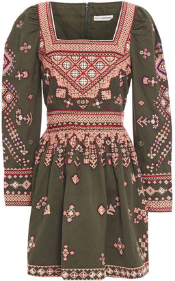 Ulla Johnson Pleated Embroidered Cotton And Linen-blend Twill Mini Dress