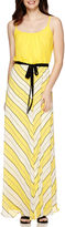 Robbie Bee Sleeveless Solid Top with Mitered Stripe Skirt Maxi Dress