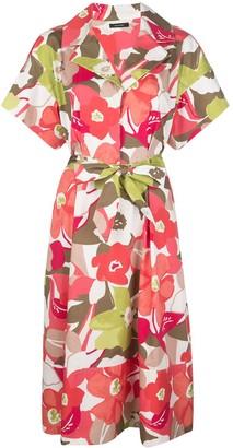Natori Floral-Print Tie-Waist Dress