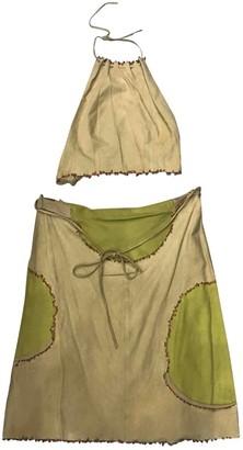 Fendi Beige Leather Skirt for Women Vintage