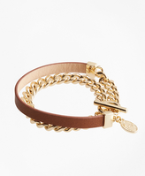 Brooks Brothers Leather Chain Wrap Bracelet
