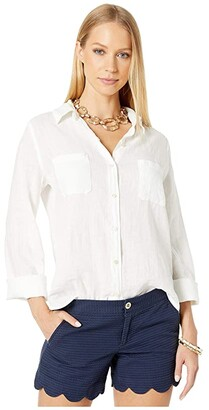 Lilly Pulitzer Sea View Button Down (Resort White) Women's Clothing