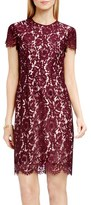 Vince Camuto Short Sleeve Scallop Lace Sheath Dress