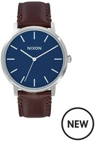 Nixon Porter Navy Dial Brown Leather Strap Mens Watch