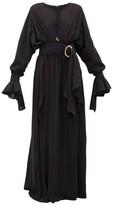 Balmain Belted Cotton-gauze Maxi Dress - Womens - Black