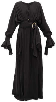 Balmain Belted Cotton-gauze Maxi Dress - Womens - Black