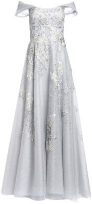 Teri Jon By Rickie Freeman Off-The-Shoulder Floral-Embroidered Lace & Tulle A-Line Gown