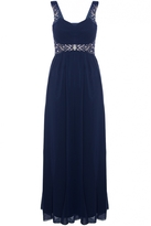 Quiz Navy Chiffon Pleated Diamante Maxi Dress