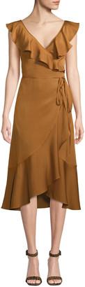 Fame & Partners Alexa Wrap Dress w/ Asymmetric Ruffle Hem