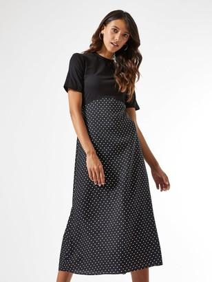 Dorothy Perkins Woven Jersey Mix Midi Spot Dress - Black