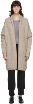 LAUREN MANOOGIAN Brown Alpaca and Merino Hand-Knit Cardigan