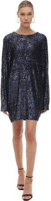 In The Mood For Love Sequined Mini Dress W/ Batwing Sleeves