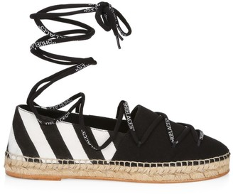 Off-White Diagonal Stripe Canvas Espadrilles