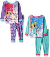 Nickelodeon Girls' Shimmer and Shine 4-Piece Cotton Pajama Set, Purple
