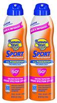 Banana Boat Sport Performance Ultramist Broad Spectrum Sunscreen Spray, SPF 50 - 6 Ounce Twin Pack