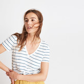 Madewell Whisper Cotton V-Neck Pocket Tee in Jarvis Stripe