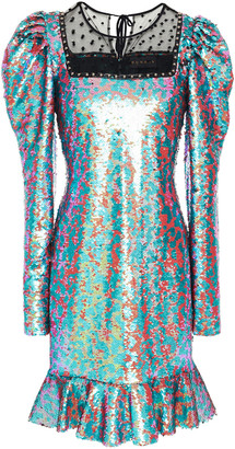 Dundas Ruffled Swiss-dot And Sequined Tulle Mini Dress