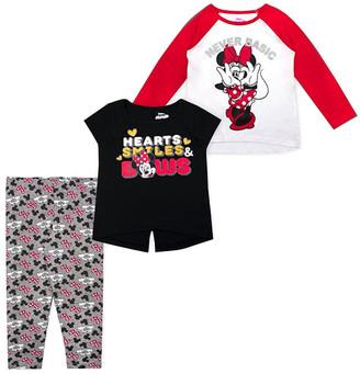 Children's Apparel Network Girls' Leggings - Minnie Mouse Red & White 'Never Basic' Raglan Tee Set - Infant