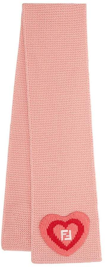 Fendi embroidered heart scarf