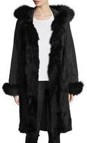 Belle Fare Hooded Silk Fur-Trim Coat, Black