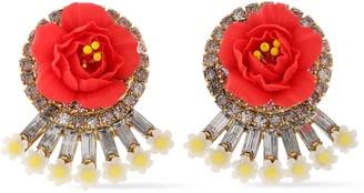 Elizabeth Cole Embellished 24-karat Gold-plated, Swarovski Crystal And Porcelain Earrings