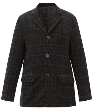 Undercover Single-breasted Plaid Wool-flannel Blazer - Black