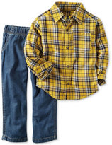 Carter's Little Boys' 2-Pc. Long-Sleeve Plaid Shirt & Pants Set